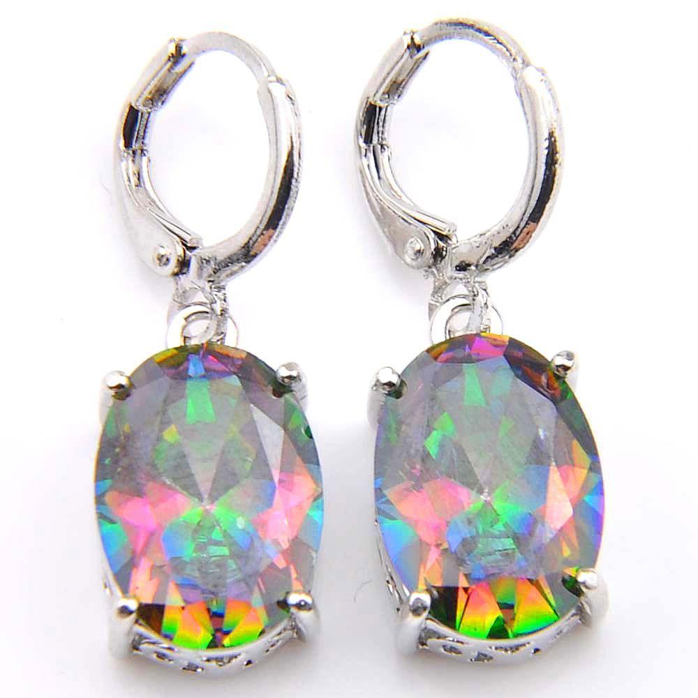 Novel Luckyshine Rainbow Ellipse Mystic Topaz Gems 925 Silver Pendants Necklaces Earrings Zircon Jewelry Sets