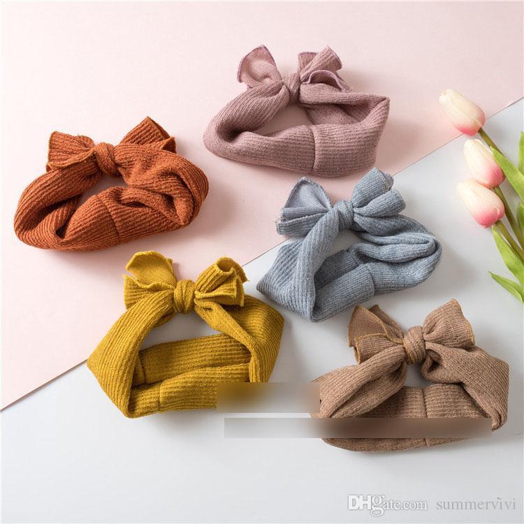 2018 Nouveaux enfants Bows bandeaux boutique filles à tricoter Bows princesse accessoires de cheveux 5 couleurs enfants élastiques large bandeaux R2695