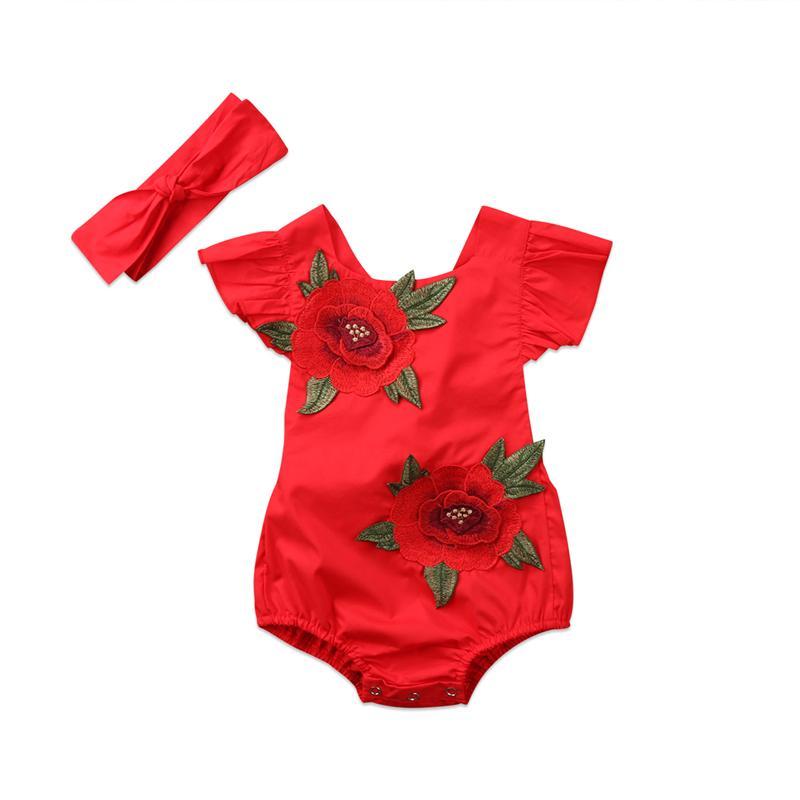 647f8c256c18d Christmas Costumes Newborn Baby Girls Romper Infant Girl 3D Rose Flower  Ruffles Romper Jumpsuit+Headband 2Pcs 2018 Baby Clothing Y18102907