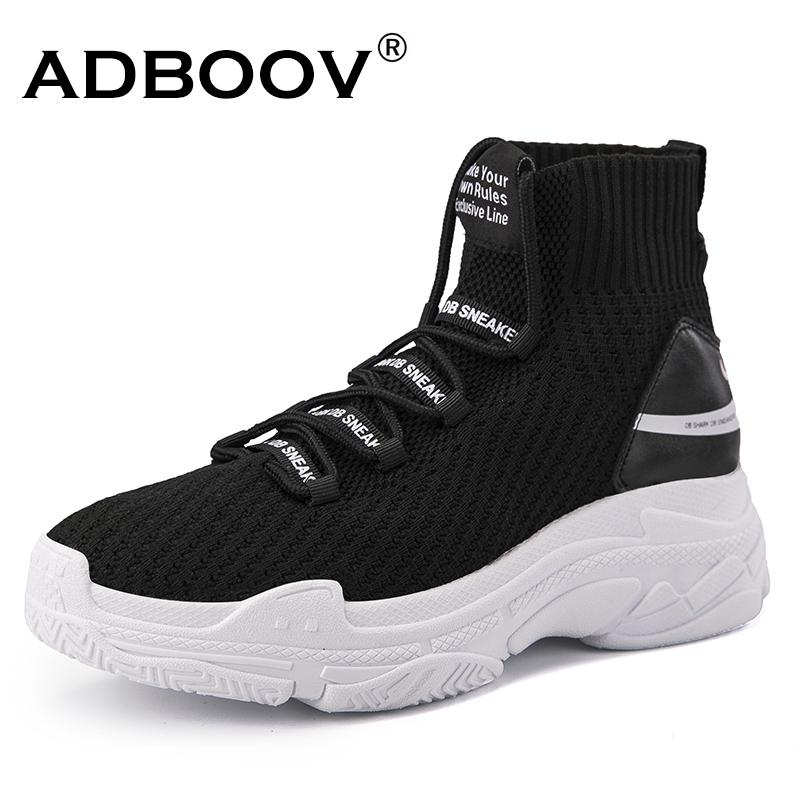 d0e34a619299 2019 Casual ADBOOV High Top Men Women Sneakers 5 CM Thick Sole Sock Shoes  Knit Vamp Breathable Dad Shoes White Black Sapato Feminino