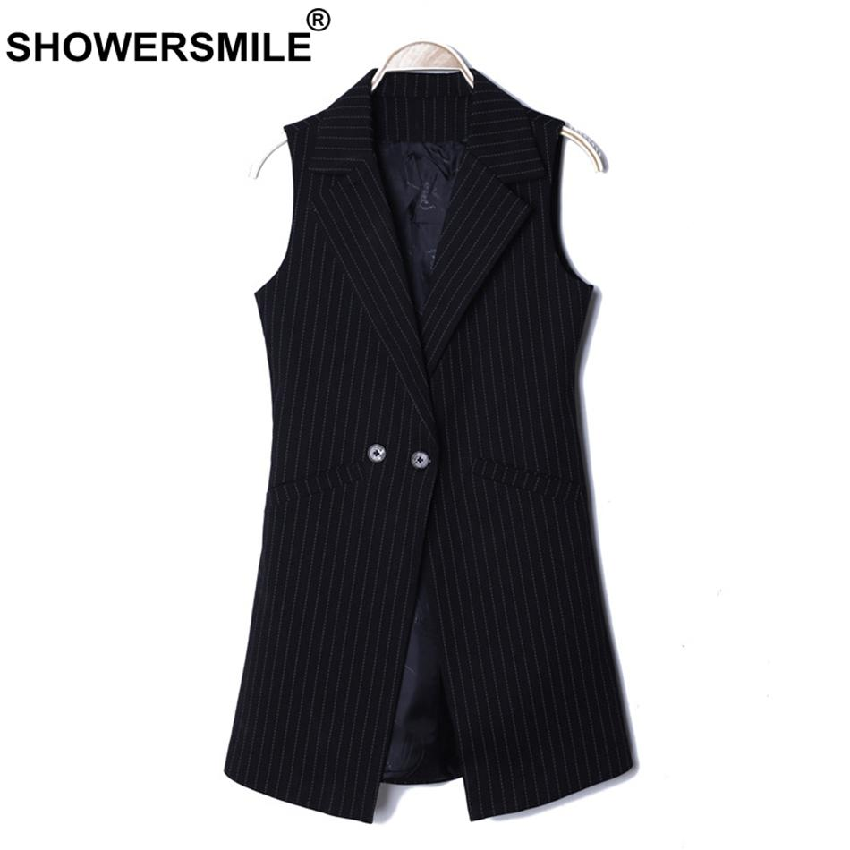 SHOWERSMILE Striped Waistcoat Ladies Black Vest Women Formal Office Long  Suit Vests Elegant Autumn Sleeveless Jackets Gilet 2018 UK 2019 From  Guchen3 c1e0e79bf6