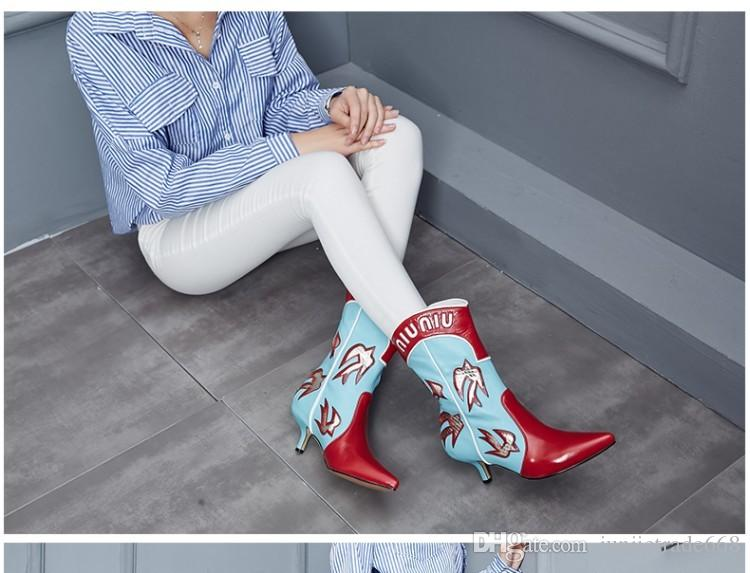 Factory outlet genuine leather Europe station 2017 autumn and winter Martin female genuine leather boots pointed color mixed bare boots