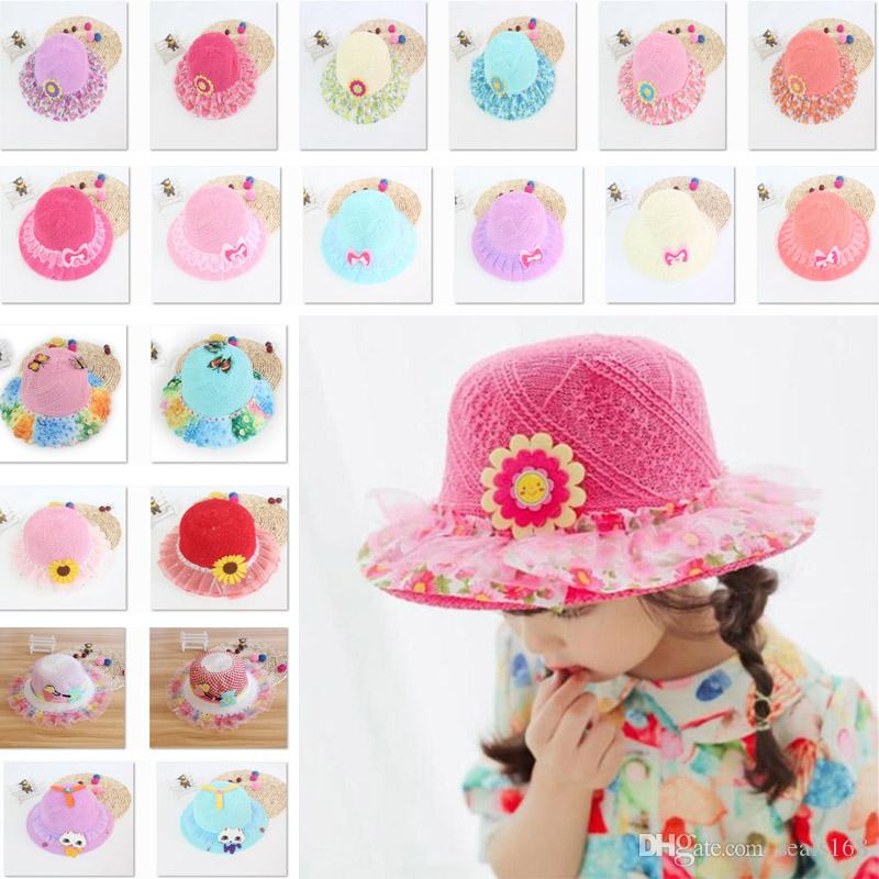 da42d7d3286 2019 40 Styles Snapback Hats Kids Girls Baby Lace Node Brim Summer Beach Sun  Straw Hat Cap Princess Basin Caps Children Sun Caps HH7 1088 From Seals168