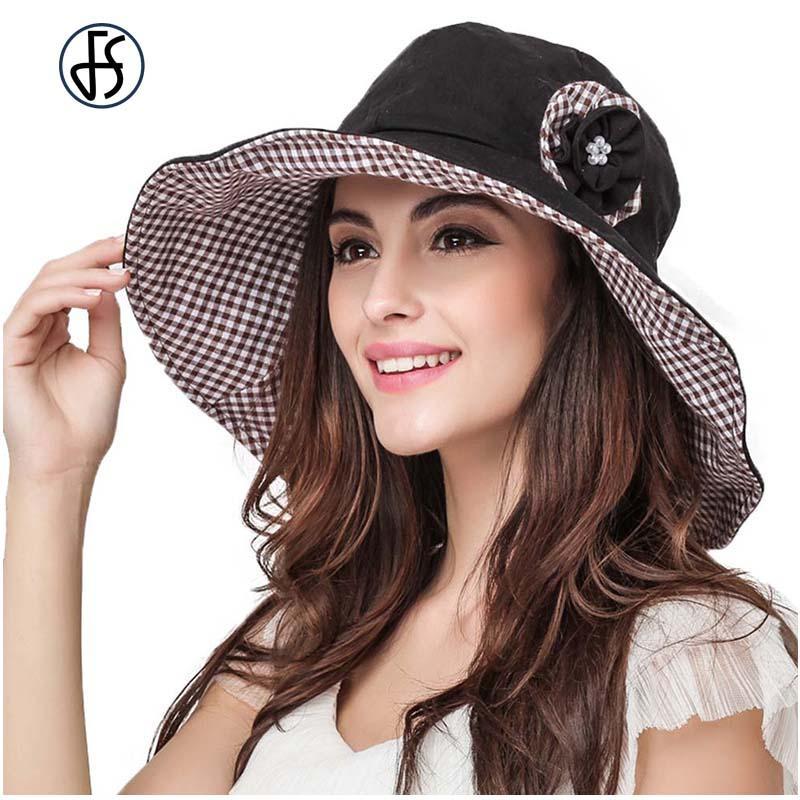 Womens Retro Sun Cotton Foldable Hat Sonnenhut UV Protect Visor Beach  Flower Large Brim Hats Wide Brim Summer Cap Black Floppy Hat Flat Bill Hats  From ... 857b02feebc