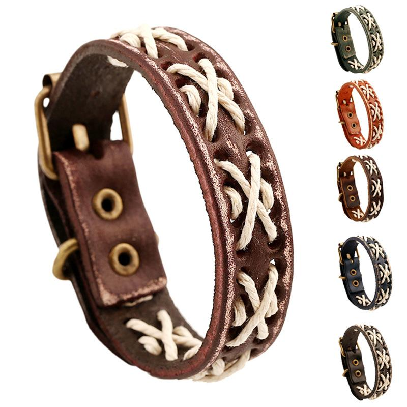 4d3019ca0 Vintage Men's Leather Bracelets for Women Elastic Friendship Bracelet Male  Wristband Braslet Femme Gift for Boys Boho Jewelry