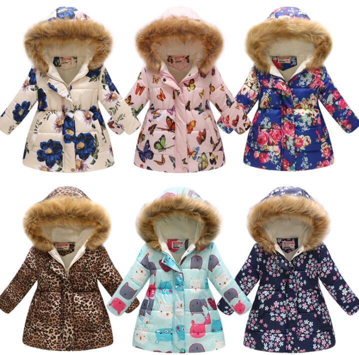 d55a34e88be Baby Girls Winter Coats Girl Warm Thicken Flower Cartoon Printed Butterfly  Flower Leopard Print Winter Hooded Jacket KKA6169 Girls Faux Fur Coats Coat  Kid ...