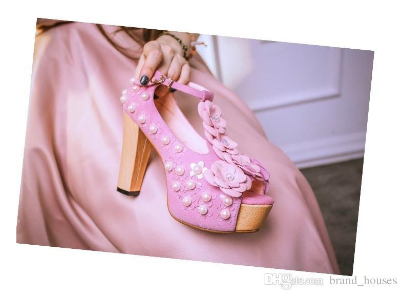 2018 Verano Rosa Perla Chunky Heel Peep Toes Flor Zapatos de boda Mujeres Verano Plataforma Sólida Tacón alto Envío Gratis