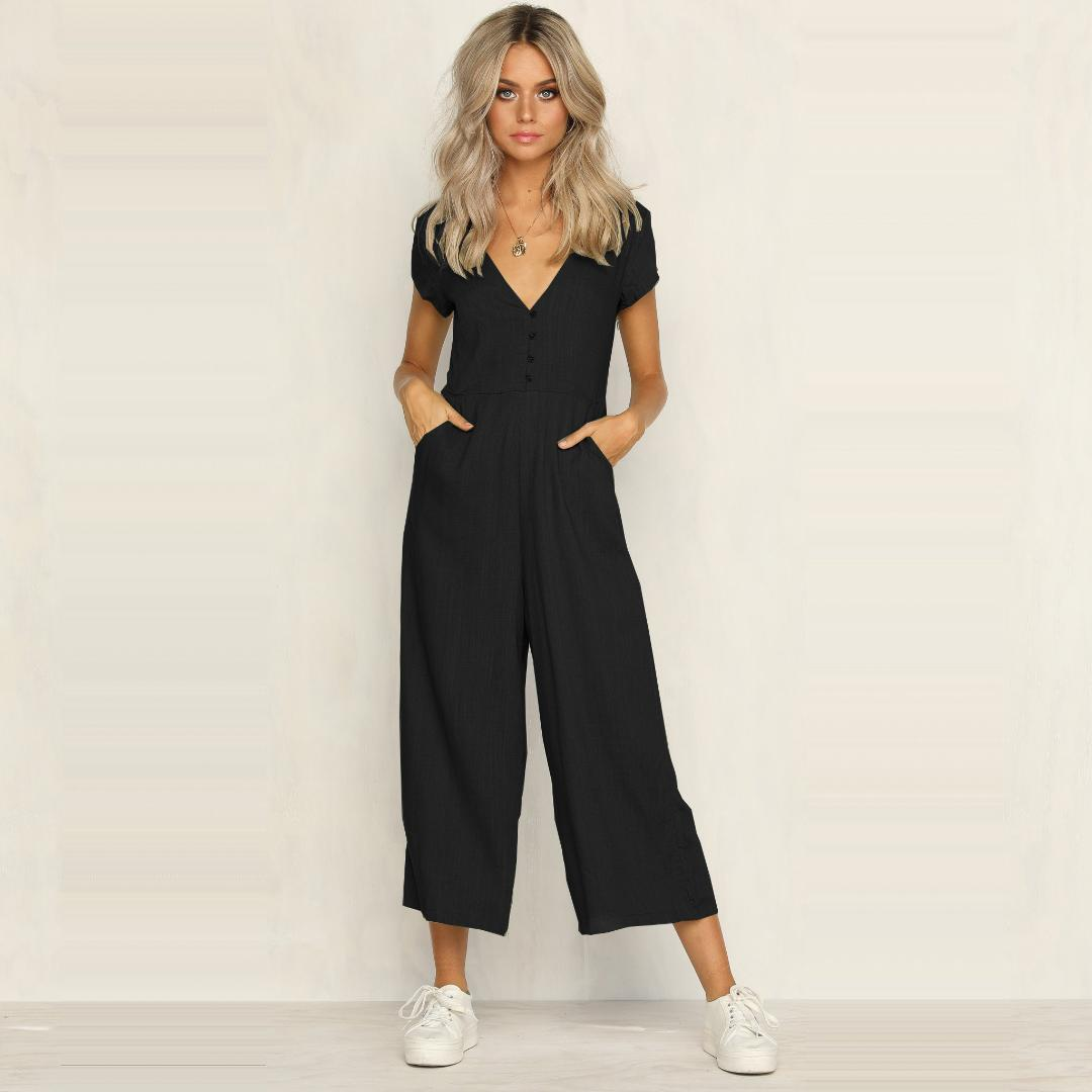 90f10c7401a1 2019 Womens Sexy Party Clubwear Short Sleeve Summer Jumpsuit Elegant Deep V  Neck Loose Romper Chiffon Female Trousers Salopette Femme From Vikey16