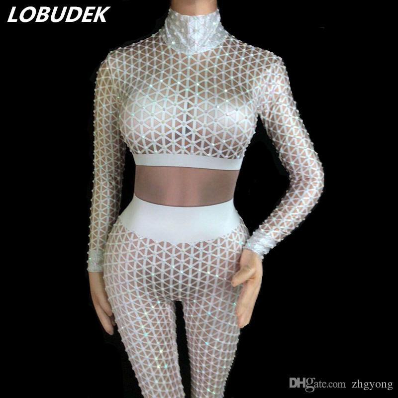 2019 Black White Rhinestones 3D Plaid Printing Jumpsuit Sexy Big Stretch  Elastic Bodysuit Women Nightclub Clothing Bar Party DJ Singer DS Costume  From ... 551638c35e29