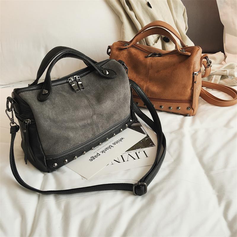Women Leather Handbags Black Rivet Shoulder Bags Ladies Cross Body Bags  Large Capacity Ladies Shopping Bag Bolsa Fiorelli Handbags Discount  Designer ... 78b268fd2933c