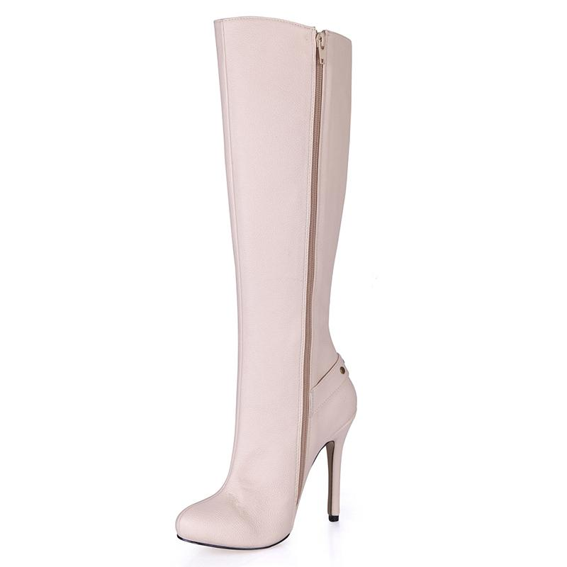 migliori scarpe da ginnastica 93cfa cceef Stivali da donna di lusso beige moda stivali punta a punta stivali alti  tacco 12cm Stivali al ginocchio da designer zip per le donne 100% nuovo, ...