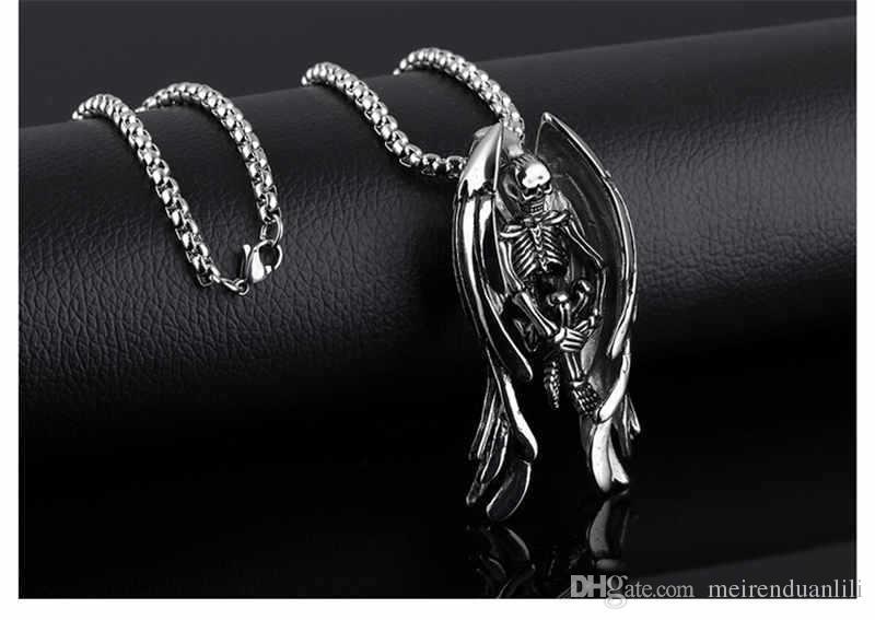Cool Skeleton Wing PendantsNecklaces Hip Hop Jewelry Gold / Silver / Black Color For Men Gioielli in acciaio inossidabile Collana di nuovo arrivo