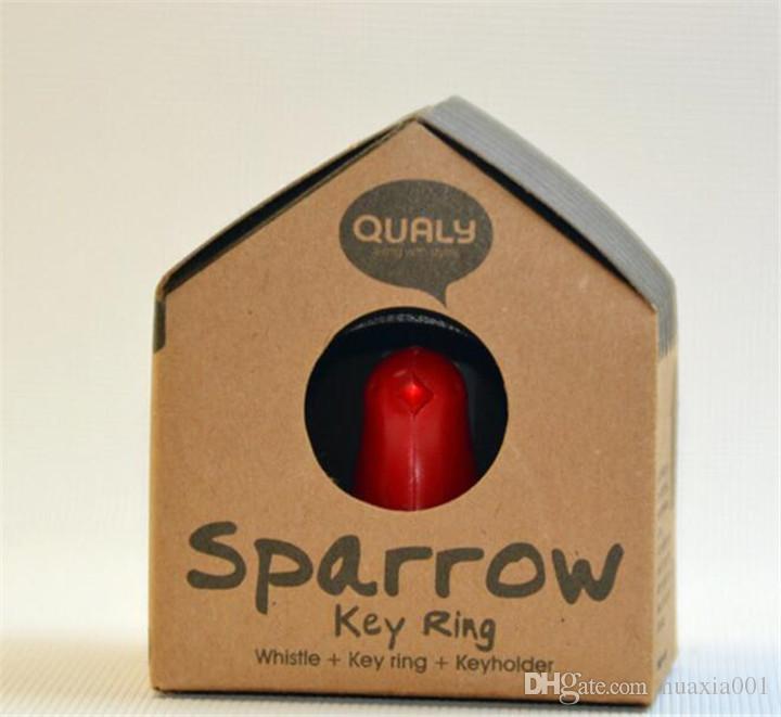 Spatz Schlüsselring Schlüsselhaken Nest Bird Whistle KeyChain Haus Vogelpfeife KeyChain Key Ring Wand KeyHook Halter Kunststoffpfeife