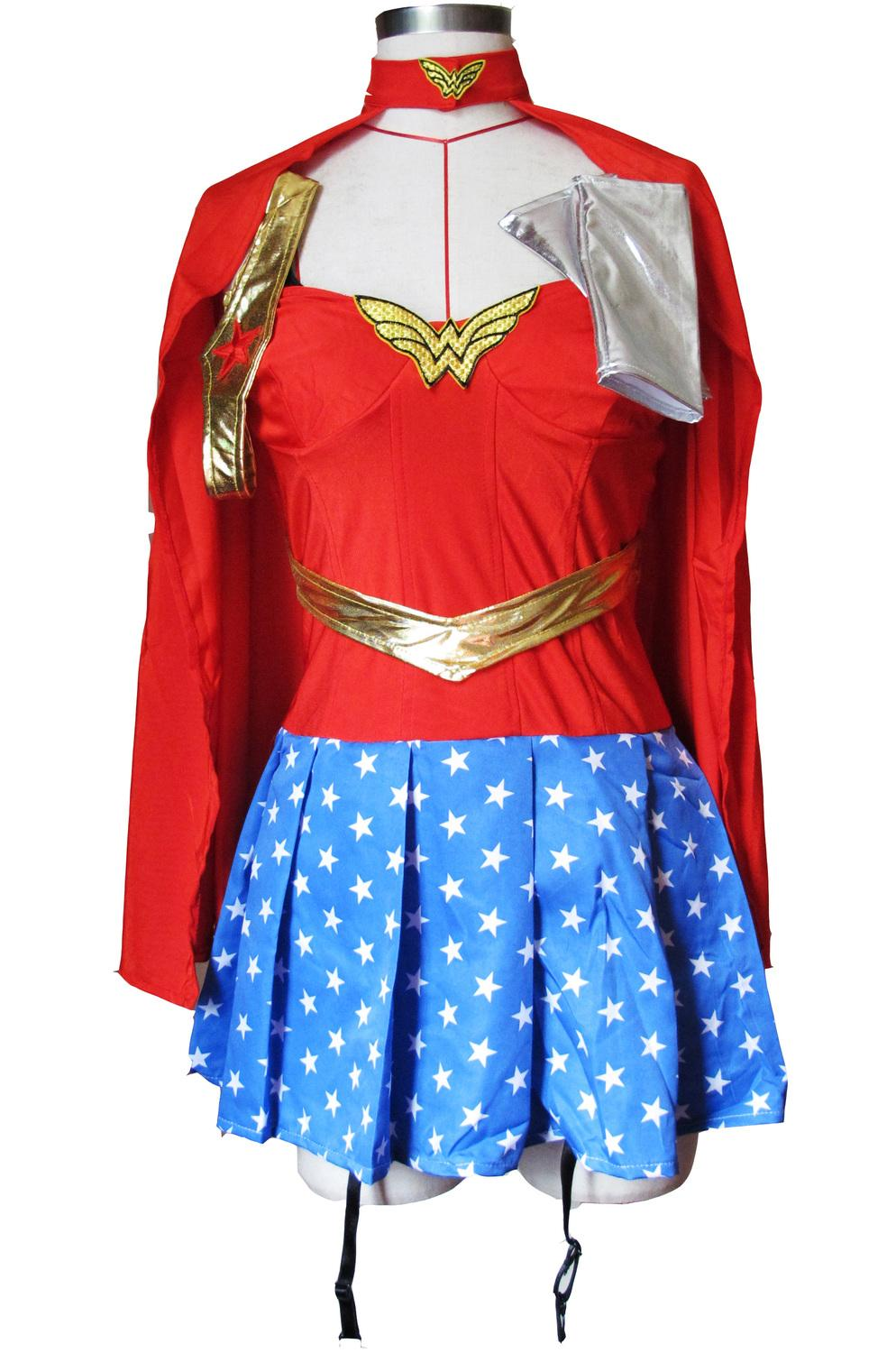 Super Girl Wonder Woman Fancy Dress Women Superhero Superwoman Halloween Costume