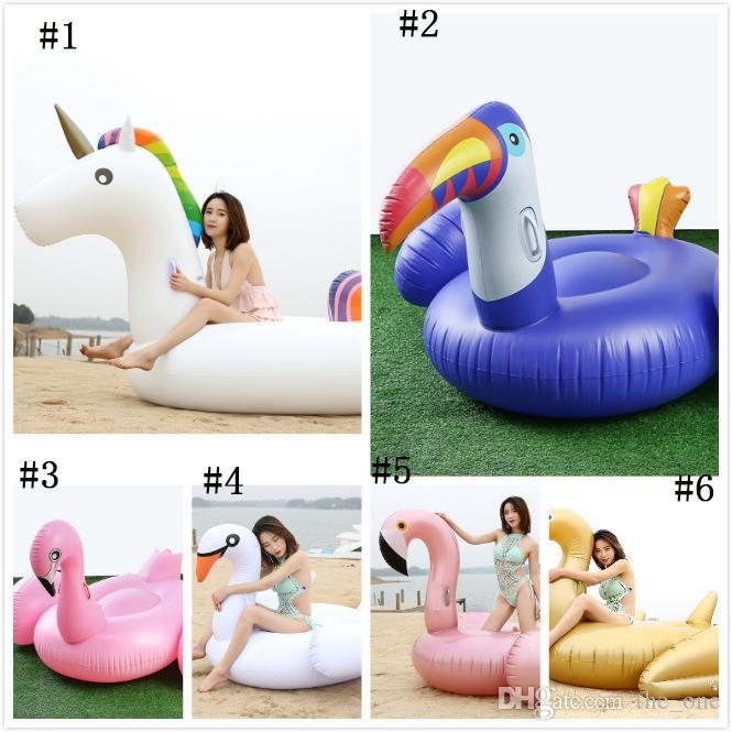 Fila inflable flotante del PVC ambiental del juguete de la piscina del flamenco del unicornio popular para el partido de la diversión de las vacaciones de verano