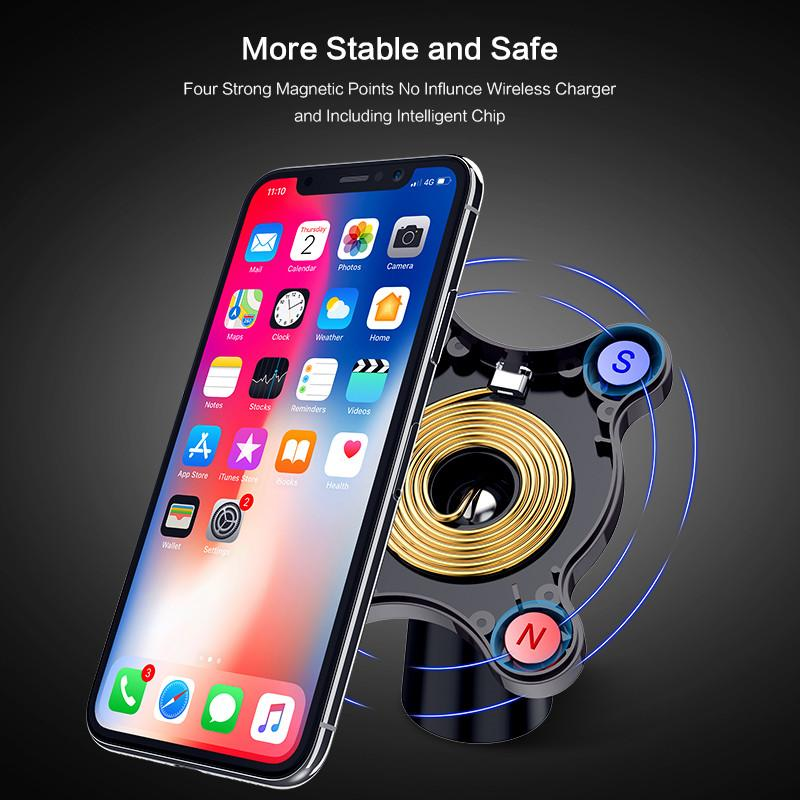 Car Wireless Charger For Samsung S9 Note 8 9 Magnetic Car Phone Holder QI  Wireless Charger For iPhone 8 X Air Vent Dashboard