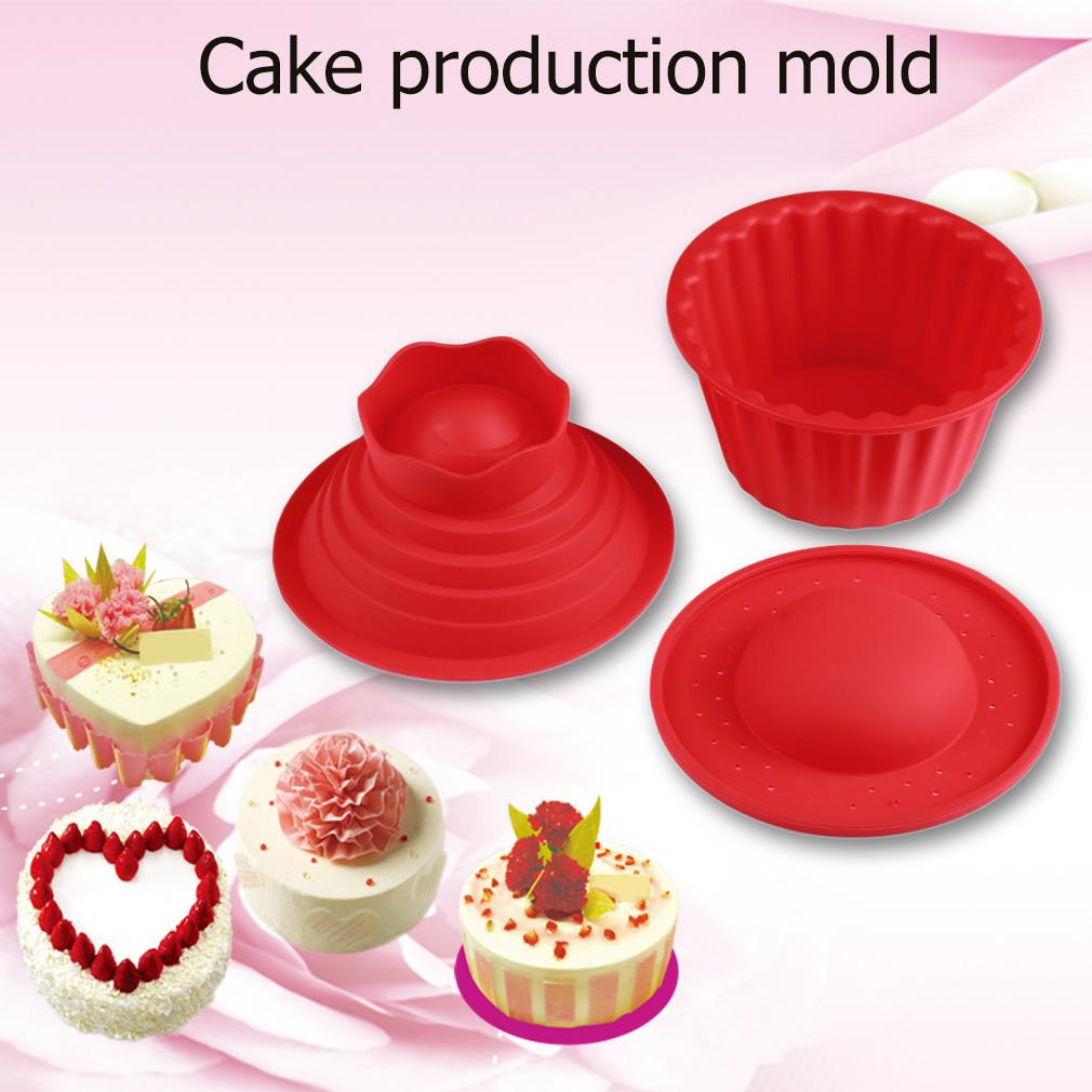 Nuovo caldo 3 pz / set rosso gigante grande stampo in silicone muffa della torta del bigné del bigné cuocere la muffa di cottura