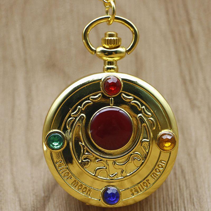 Fashion Quartz Watch Golden Sailor Moon Theme Necklace Pendant