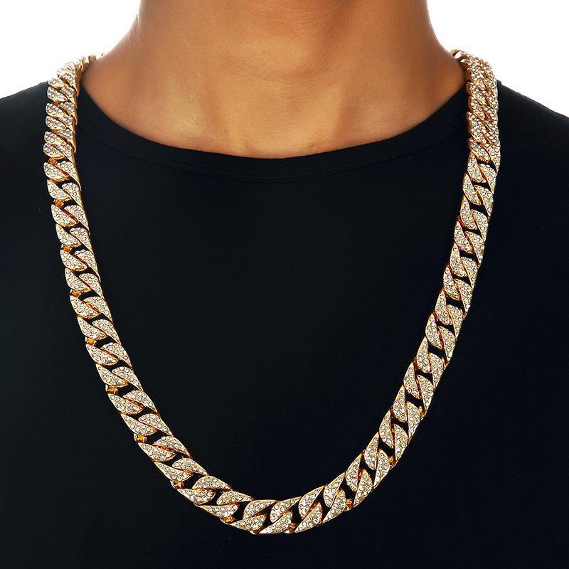 e33f843ab393 Compre Rhinestone COMPLETO 18k Collar De Cadena De Oro Para Hombre De Los  Hombres Cubanos De Miami Collar Punk 14mm Collar Largo De Oro Joyería Llena  A ...