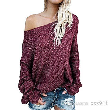 78080732191 2019 2018 New Autumn And Winter Casual Women'S Off Shoulder Batwing Sleeve  Loose Oversized Pullover Sweater Knit Jumper From Xxx944, $23.12 |  DHgate.Com