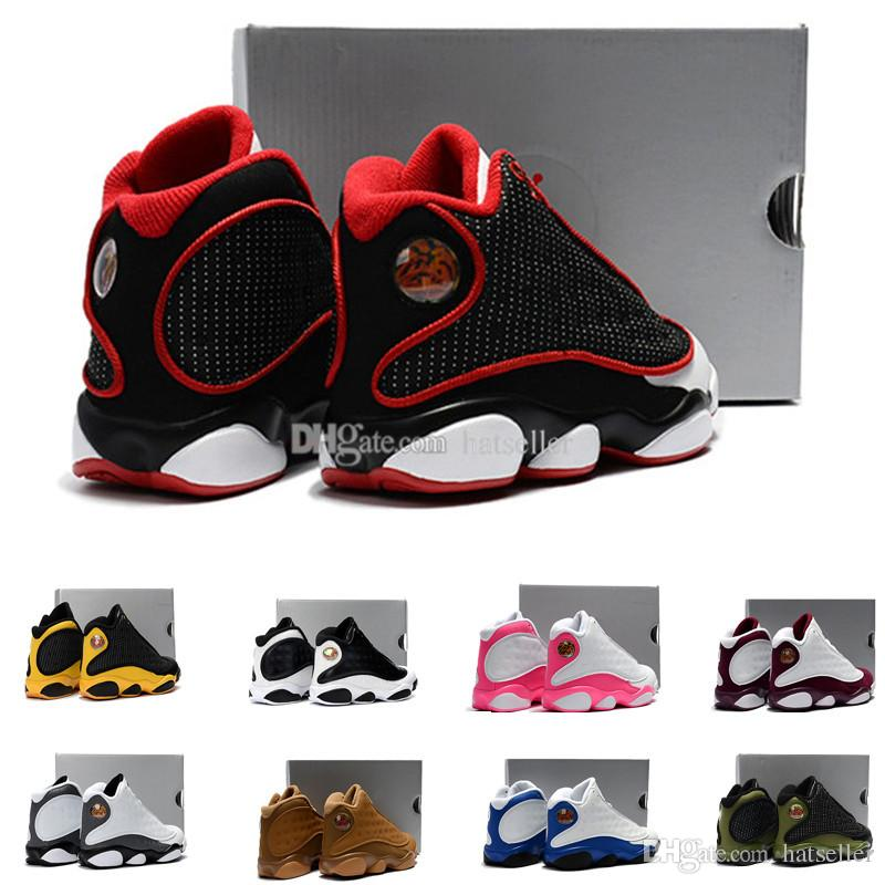 caa4e9837b5c 13 Kids Basketball Shoes Red White Bordeaux Pink Yellow Olive Love Respect  Black Cat Chicago Bred HOF Youth Boy Girl Children 13s Eur28 35 Children  Sport ...