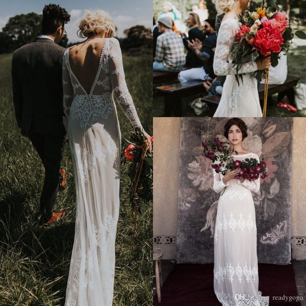 Vintage Lace Applique Bohemian Country Long Sleeve Wedding Dresses Modest Low Back Applique Edge Garden Beach boho Wedding Gown