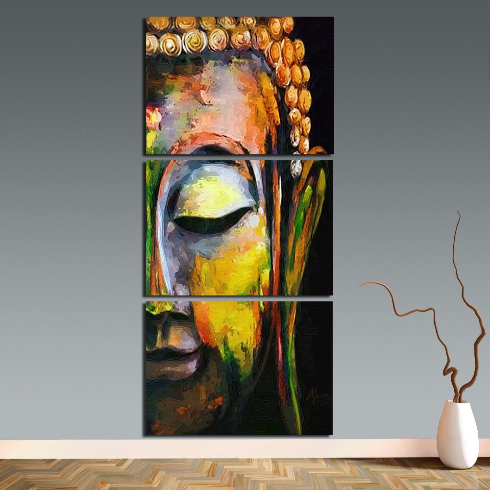 Amazing 2018 Wall Art 3 Panels Buddha Wall Pictures For Living Room Oil Paintings  On Canvas Posters And Prints Home Decor Framless Buddha 1 From Bad784533,  ...