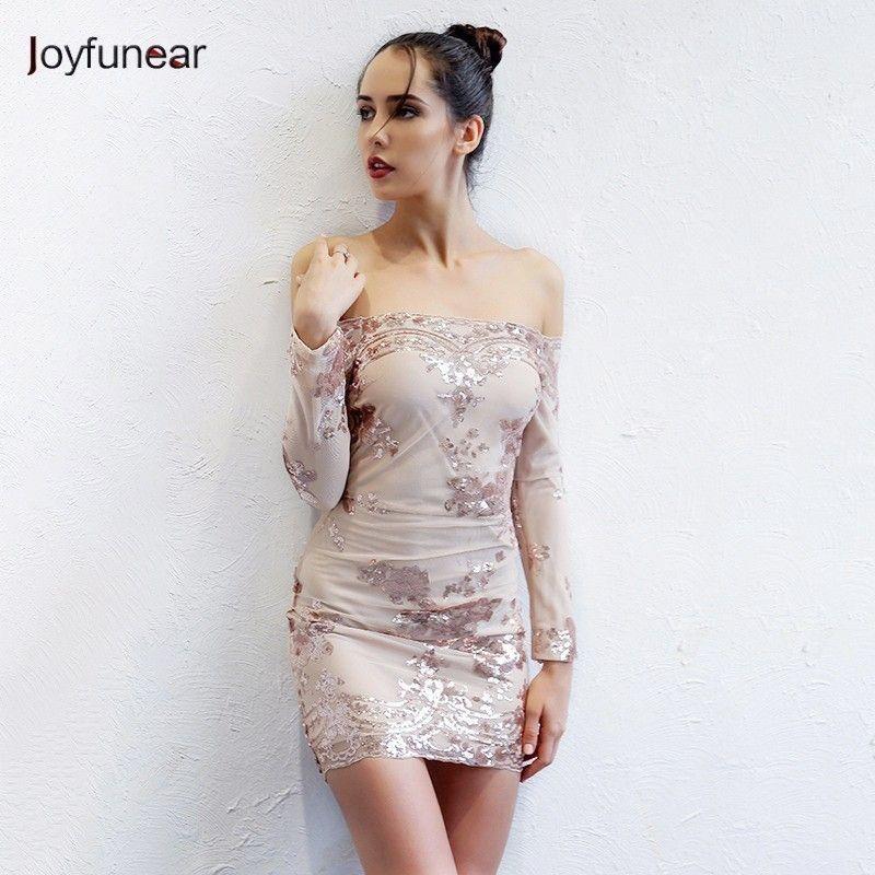 20187 Joyfunear Autumn Sequin Dress Women Sexy V Neck Strapless Backless Mini  Dresses Elegant Bodycon Club Party Vestidos Gold Color Wrap Dresses Plus  Size ... d49464561