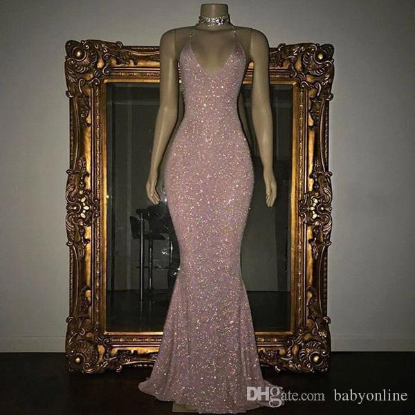 2018 Stunning Rose Pink Sequined 2K18 Prom Dresses Sexy Spaghetti Straps Mermaid Sleeveless Evening Gowns BA5415