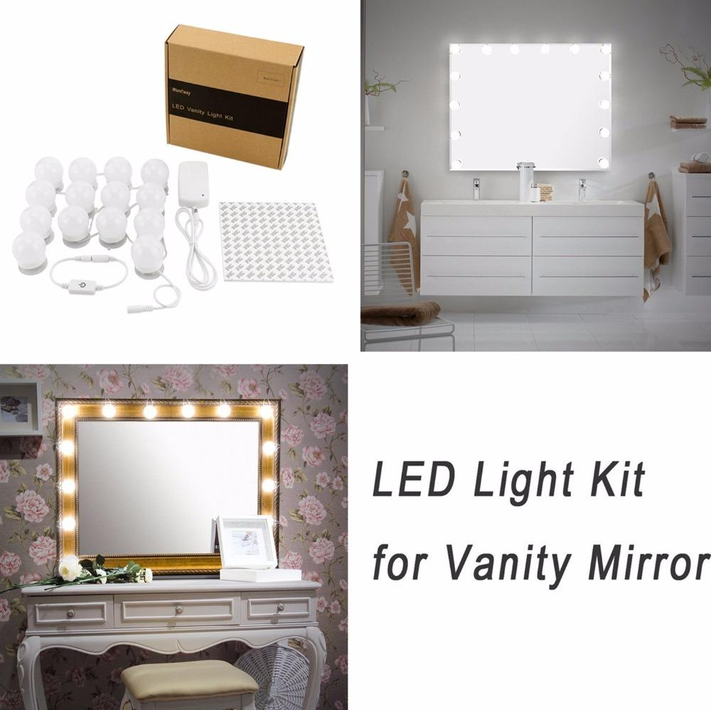 Hollywood Diy Vanity Lights Strip Kit For Lighted Makeup Dressing Table  Mirror Plug In Led Lighting Fixture Free Standing Mirror Lighted Vanity  Mirror From ...