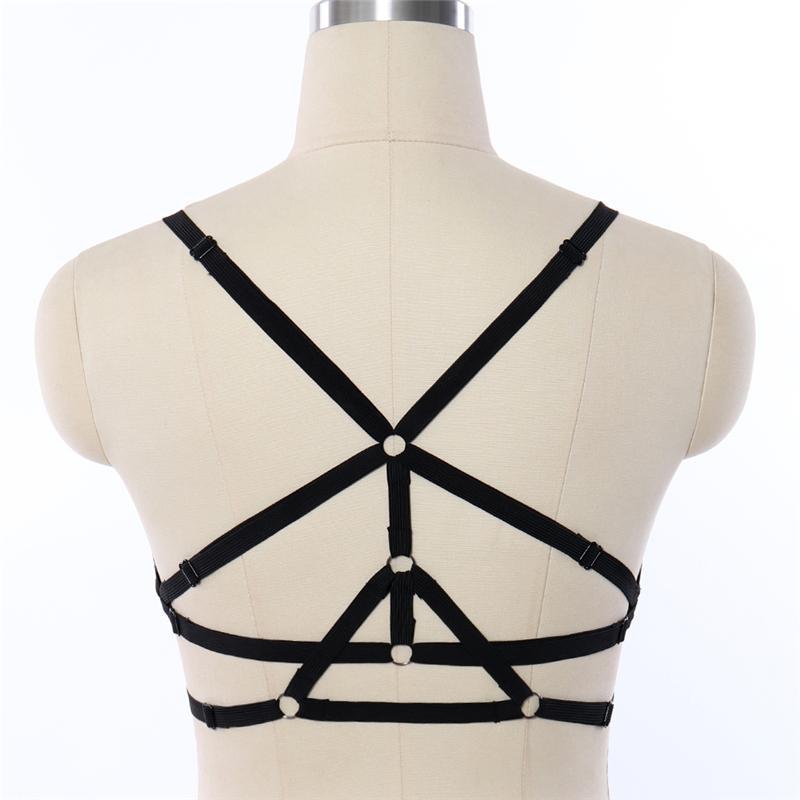 BODY CAGE Demeti BDSM Kölelik Lingerie Elastik Kayış Üstleri Kafes Sütyen Harajuku Seksi Göğüs Sutyen Fetiş Erotik Tam Vücut Harnes