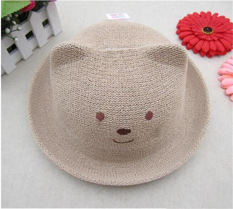 Oso lindo Niños Verano Panamá Sombreros Muchachas coloridas Luffy Sombrero de paja Sombrero de paja Anti-Sol Playa al aire libre Precioso Bebé Redondo Sombrero de sol TO601