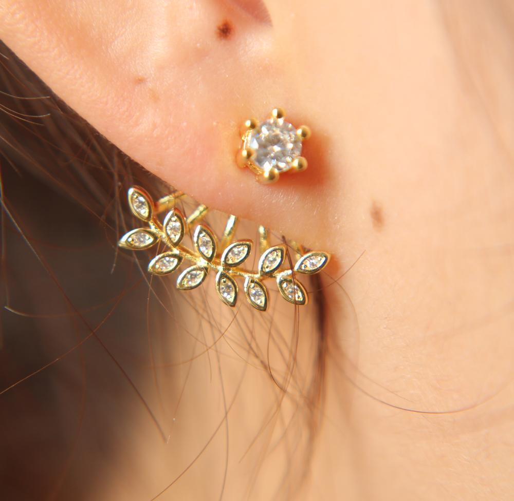 Ear Cuff Rushed 2017 High Polish Fashion Jewelry Promotion Cz Leaf Spring Jacket Clip Women Earring