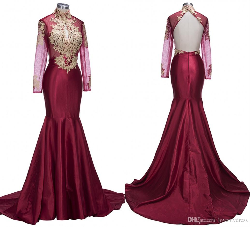 7e431207a271 Mermaid African Prom Dresses Long 2018 Luxury Wine Red Satin With Gold Lace  Applique High Neck Open Back Cheap Evening Formal Gowns Prom Dress Usa Prom  ...