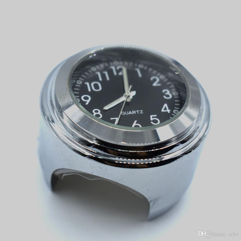 4412e9722 Compre Para Universal 7/8 1 Motocicleta Bicicleta Cromo Impermeable Dial  Negro Manillar Reloj Reloj Glow Se Adapta Para YAMAHA Harley Suzuki Honda A  $9.24 ...