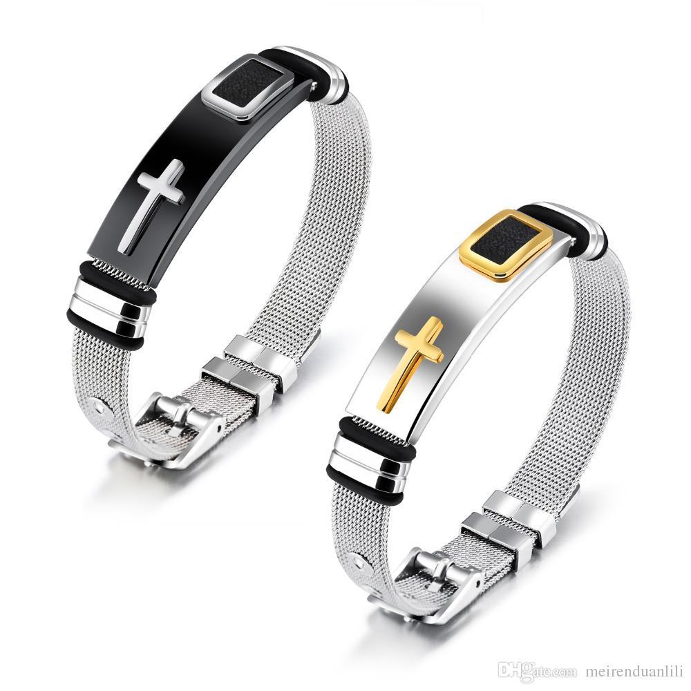 Gold/Black Cross Bracelets&Bangles For Men Fashion 316L Stainless Steel Cross Jesus Bracelet Men Wristband Jewelry Luxury Charm Jewelry