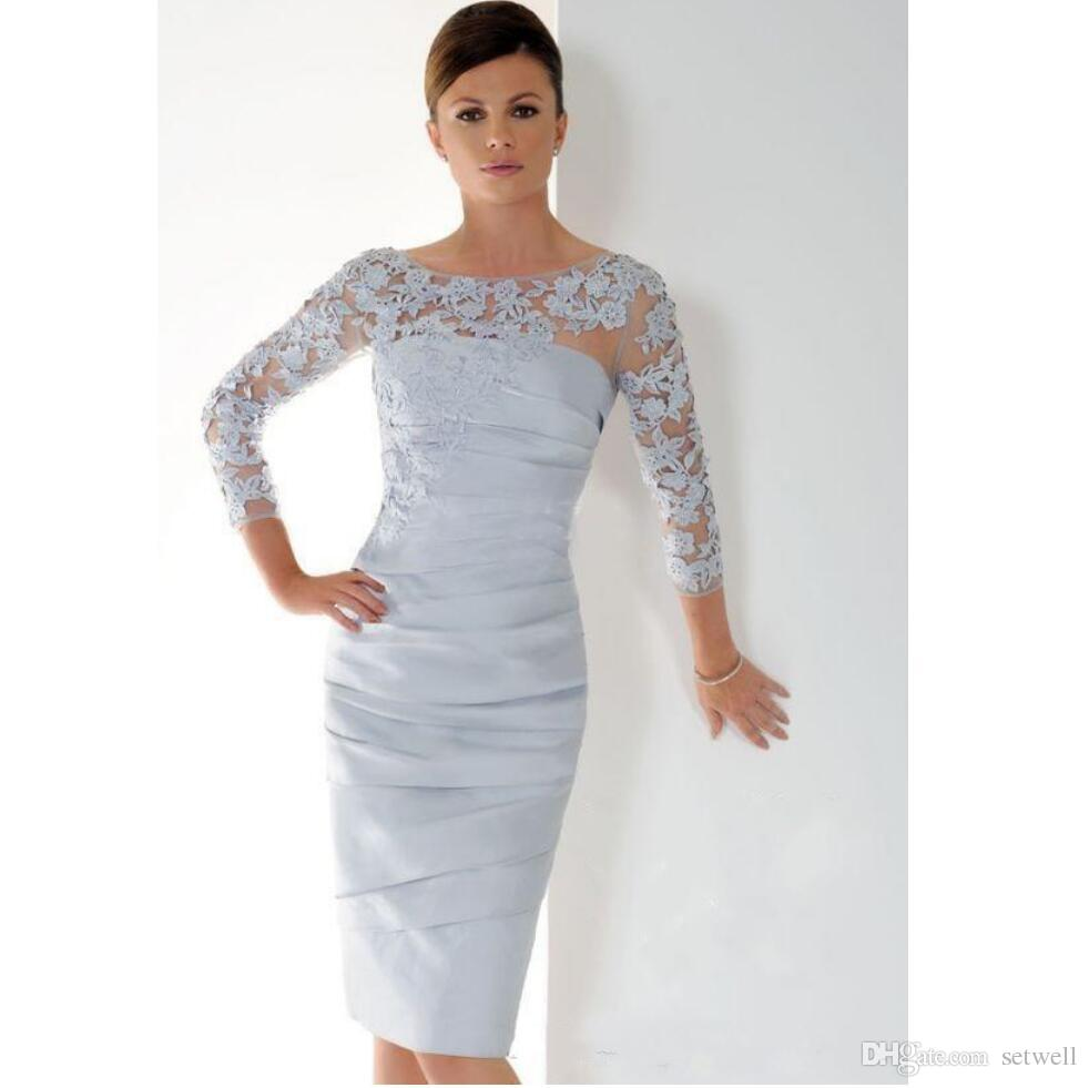 9143e09a20ff6 Short Mother Of The Bride Dresses With 3 4 Sleeves Knee Length 3D Appliques  Pleats Mother S Dress Plus Size Women Formal Evening Gowns Dresses For  Mother Of ...