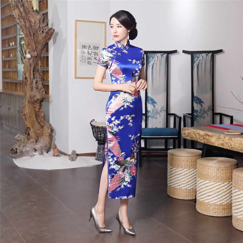 Shanghai Story Faux Silk Qipao Long Chinese Dress vintage chinese style dress Chinese Oriental dress Peacock Print cheongsam