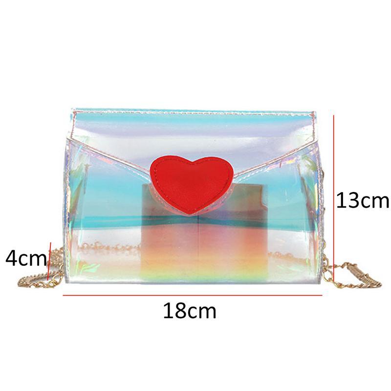 Transparente Pequeno Mensageiro Sacos de Bolsas de PVC Saco Do Telefone Satchel Loving Coração Laser Brilhante Mulheres Sacos de Ombro Limpar Crossbody Bag