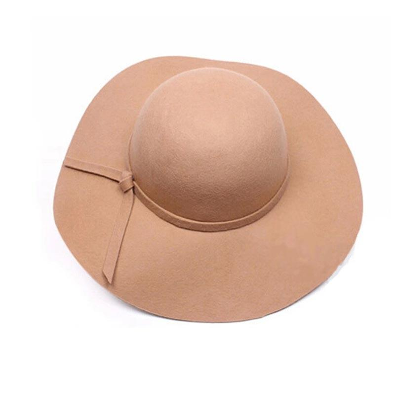 349973a210ed36 Women Girls Wool Wide Brim Felt Bowler Fedora Hat Lady Floppy Cloche Straw  Beach Cap For Ladies Elegant Hats Girls Vacation Tour Bucket Hats For Women  ...