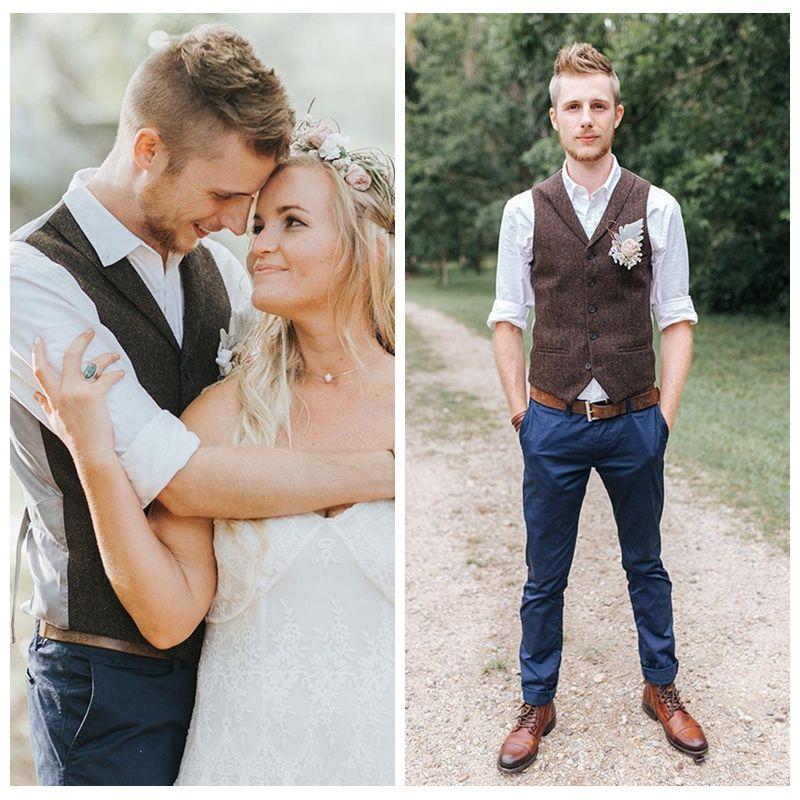 Custom 2018 Formal Brown Tweed Vest Wool Herringbone Groom Vests