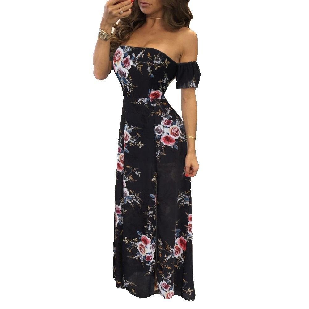 2d1d9b0c369cd Satın Al 2019 Yeni Kadın Yaz Seksi Straplez Kapalı Omuz Çiçek Plaj  Elbiseleri Parti Akşam Uzun Maxi Elbise, $31.16 | DHgate.Com'da