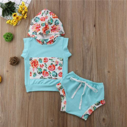 2pcs Newborn Kids Baby Girl Tops Sleeveless Floral Hoodie T-shirt+ Prints Patchwork Shorts Outfit Clothes Set Summer Clothing