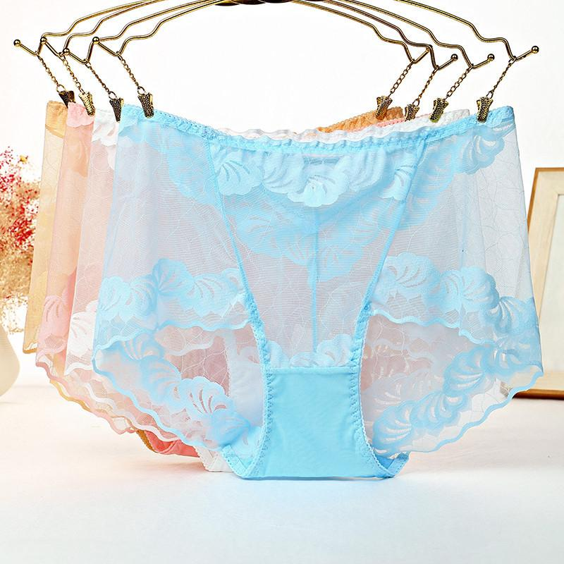 30cca51529d1bd 4Pcs/lot ropa interior femenina sexy Lingerie Brief Women Underwear plus  size 5XL Lace Flower Transparent hollow Women's Panties