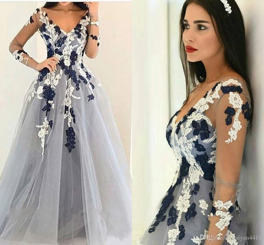 b91d1e997 2018 Hot Sexy Prom Dresses V Neck Illusion Long Sleeves Lace Appliques Long  Gray Tulle A Line Evening Dress Party Pageant Formal Gowns Short Lace Dress  ...