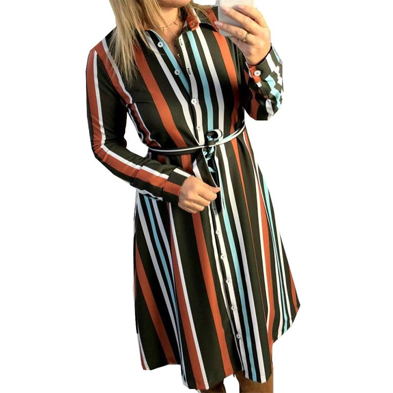 4f8be585a29 Women Shirt Dress Feminino Button Knee Length Dress Striped Spring Autumn  Office Dress Robe Casual Turn Down Collar Retro M0158 Blue Dress Women  Party ...