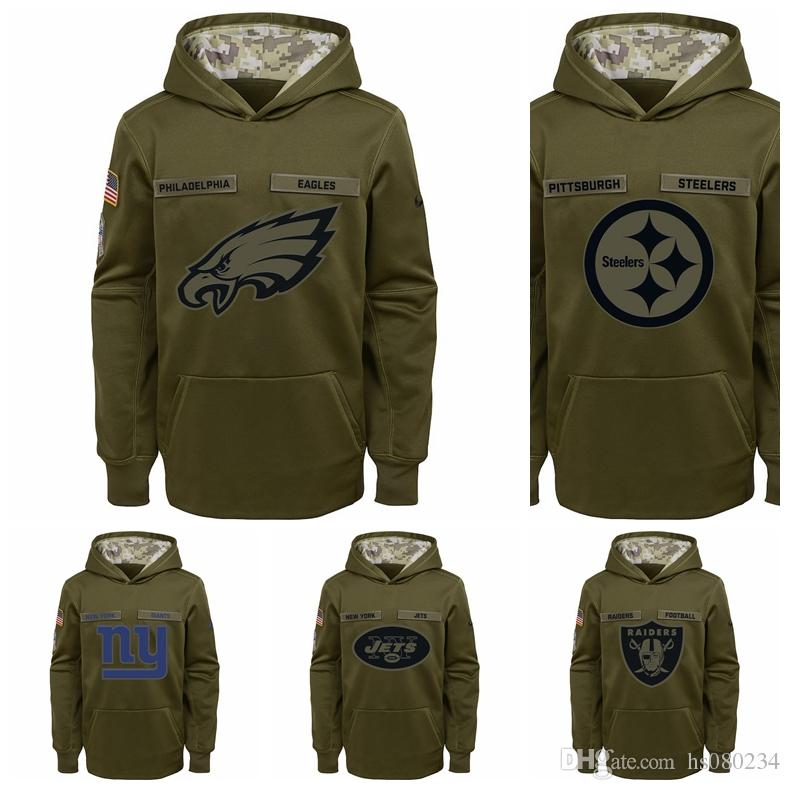 meet 00f10 73b00 New York Giants New York Jets Oakland Raiders Philadelphia Eagles  Pittsburgh Steelers Youth Salute to Service Pullover Performance Hoodie