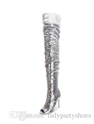 2018 Sexy Sequined Over The Knee Boots Women Pointed Toe Side Zipper Glatiator Sandals Boots Slim Fit Thin Heel Bling Bling Long Boot