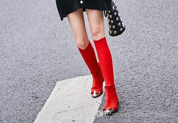 2018 Sonbahar Kış Elastik Çorap Düz Ayakkabı Kırmızı Ilmek Yün Diz Çizmeler Siyah Laides Şövalye Çizmeler Yuvarlak Toes Katı Düz Diz Çizmeler