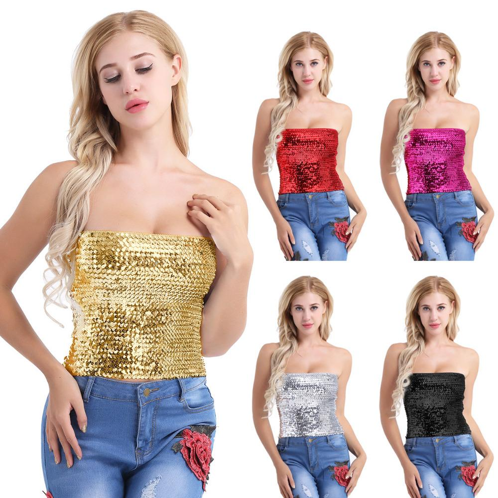 Fashion Hot Womens Sparkling Sequins Stretch Tank Crop Clubwear Party  Strapless Tube Bodycon Top Stage Costume UK 2019 From App003 9b9ad4596902